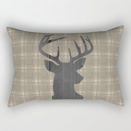 Country Farmhouse Rustic Decor, Plaid and Stag, Beige, Brown Rectangular Pillow