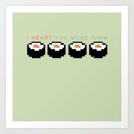 Sushi 8-Bit (Heart) Art Print