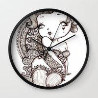 burlesque Wall Clocks featuring Chubby Burlesque by Sabrina Eras
