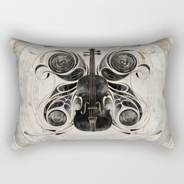 Violin Butterfly  - Watercolor and gold Rectangular Pillow