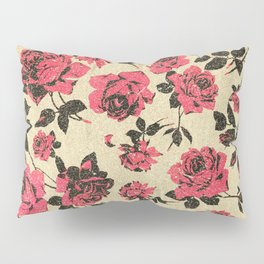 Red Rustic Roses on Faux Gold Pillow Sham