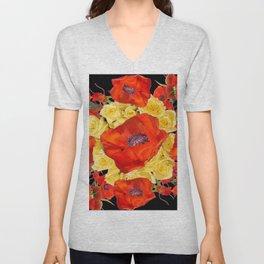 ORANGE POPPIES FLORAL & YELLOW ROSES BLACK ART Unisex V-Neck