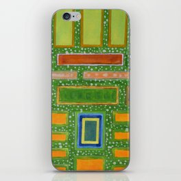 Filled Rectangles on Green Dotted Wall iPhone Skin