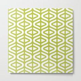 Mid Century Modern Split Triangle Pattern Chartreuse 2 Metal Print