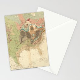 Vintage United States Geological Map (1856) Stationery Cards