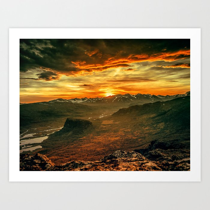Mountains Ablaze Art Print