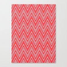 Salmon Pink Skinny Chevron Canvas Print