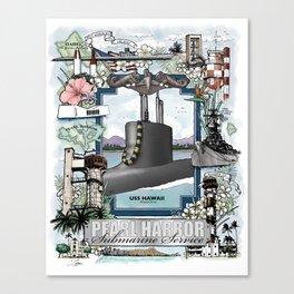 USS Hawaii - Pearl Harbor Submarine Service (Silver Dolphins) Canvas Print