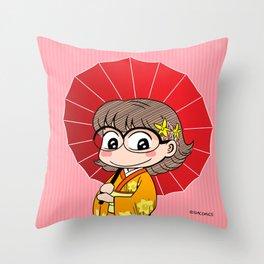 Eva in Kimono Throw Pillow