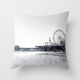 Frosted Santa Monica Pier Throw Pillow