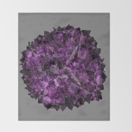 PURPLE AMETHYST CRYSTALS GREY ART Throw Blanket