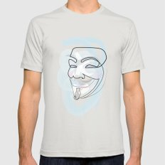 One line mask: V Mens Fitted Tee MEDIUM Silver