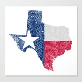 Texas Map Grunge and Flag Canvas Print