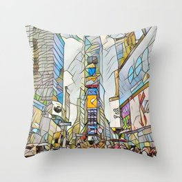 NYC Life in Times Square Throw Pillow
