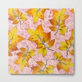 Pink Paisley Autumn Leaves Metal Print