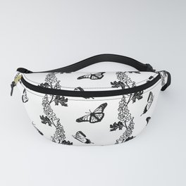 Delphiniums and Butterflies Black and White Fanny Pack