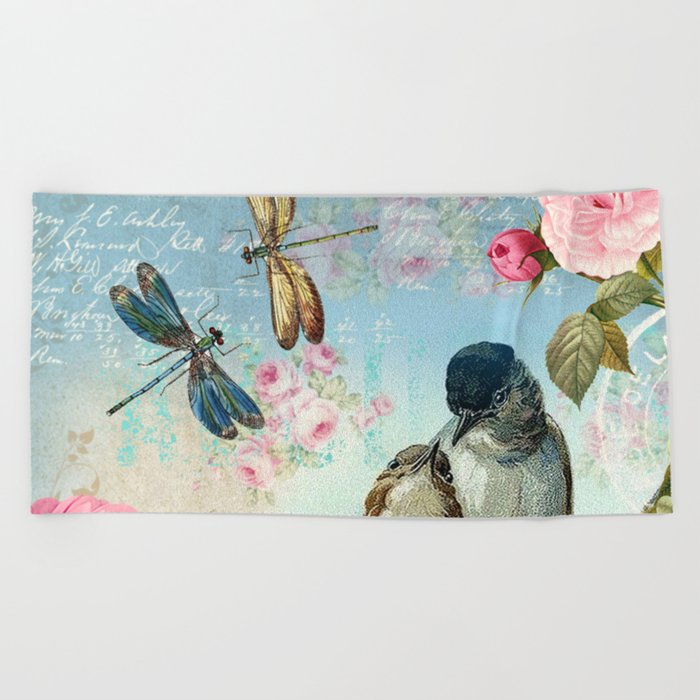 Dragonflies & bird Beach Towel
