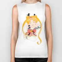 sailor moon Biker Tanks featuring Sailor Moon by cezra