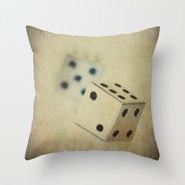 Vintage Chrome Dice Throw Pillow