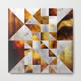 Mosaico Silver and Gold Metal Print