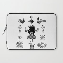 folk embroidery, Collection of flowers, birds, peacocks, horse, man, geometric ornaments, symbols e Laptop Sleeve