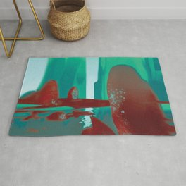 Red Rocks in Turquoise Rug