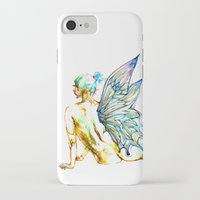 tinker bell iPhone & iPod Cases featuring Tinker Bell with one wing by Chien-Yu Peng