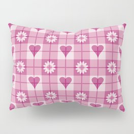Hearts and Flowers Plaid Pillow Sham
