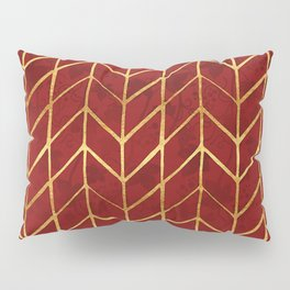 Gold Foil Herringbone on Dark Red Ivy Watercolor Pattern Pillow Sham