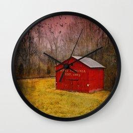 West Virginia Red Barn Wall Clock