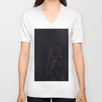 spaceman V-neck T-shirts featuring Spaceman by Julianne Ess