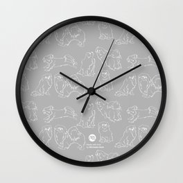 Nordic Chic White Tibbies on Light Grey Minimalist Outline Pattern Wall Clock