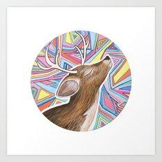 Psychedelic Deer Art Print