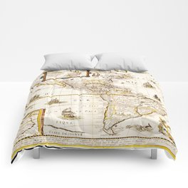 Map of North and South America (1661) Comforters
