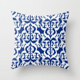 Ikat Moorish Damask, Cobalt Blue and White Throw Pillow