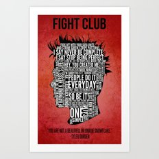 Typography Tyler Durden Uncensored Art Print