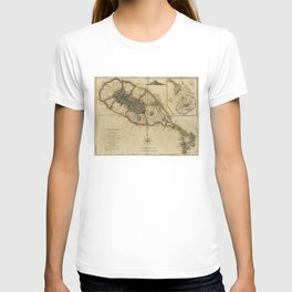 Map of Saint Christophers Island (Saint Kitts) from 1775 T-shirt