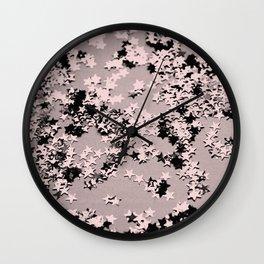 Blush Glitter Stars #1 #shiny #decor #art #society6 Wall Clock