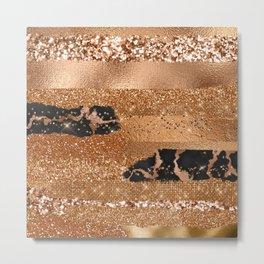 Girly Copper Milk Coffee Glamour Glitter Metal Stripes  Metal Print