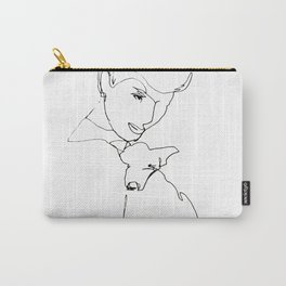 Woman with dog Carry-All Pouch
