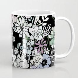 Colorful black detailed floral pattern Coffee Mug
