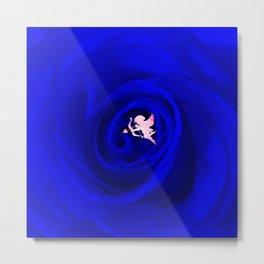 Amor meets a blue rose Metal Print