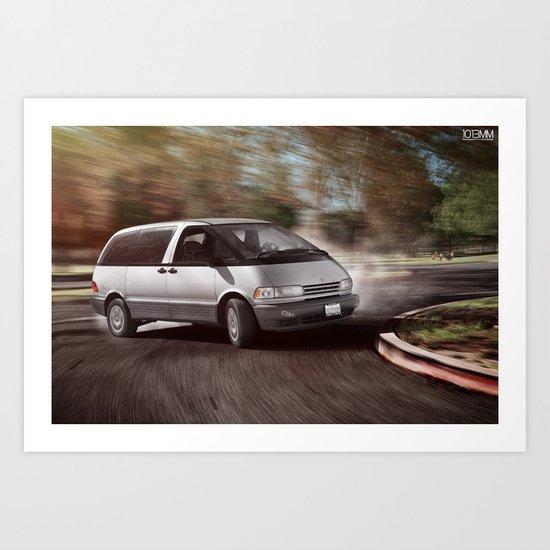 Toyota Previa Drifting Art Print