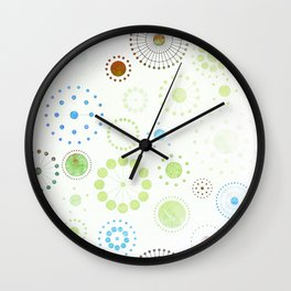 Whimsical Retro Watercolor Pattern Wall Clock