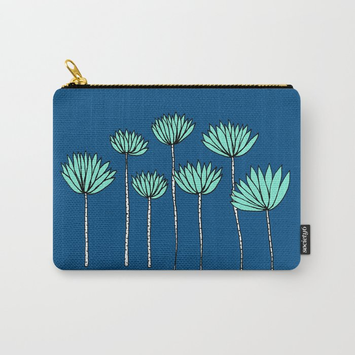 Blue and Teal Tropical Botanical Print by Emma Freeman Designs Carry-All Pouch
