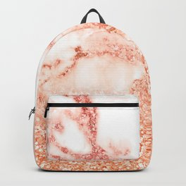 Sparkly Peach Copper Rose Gold Ombre Bohemian Marble Backpack