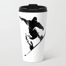 Snowboarding Black on White Abstract Snow Boarder Travel Mug