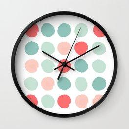 Dots painted coral minimal mint teal bright southern charleston decor colors Wall Clock