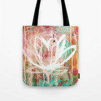 namaste Tote Bags featuring namaste by SannArt