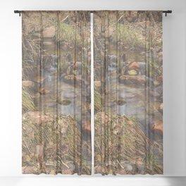 Winter Stream 1009 - Zion_National_Park, Utah Sheer Curtain